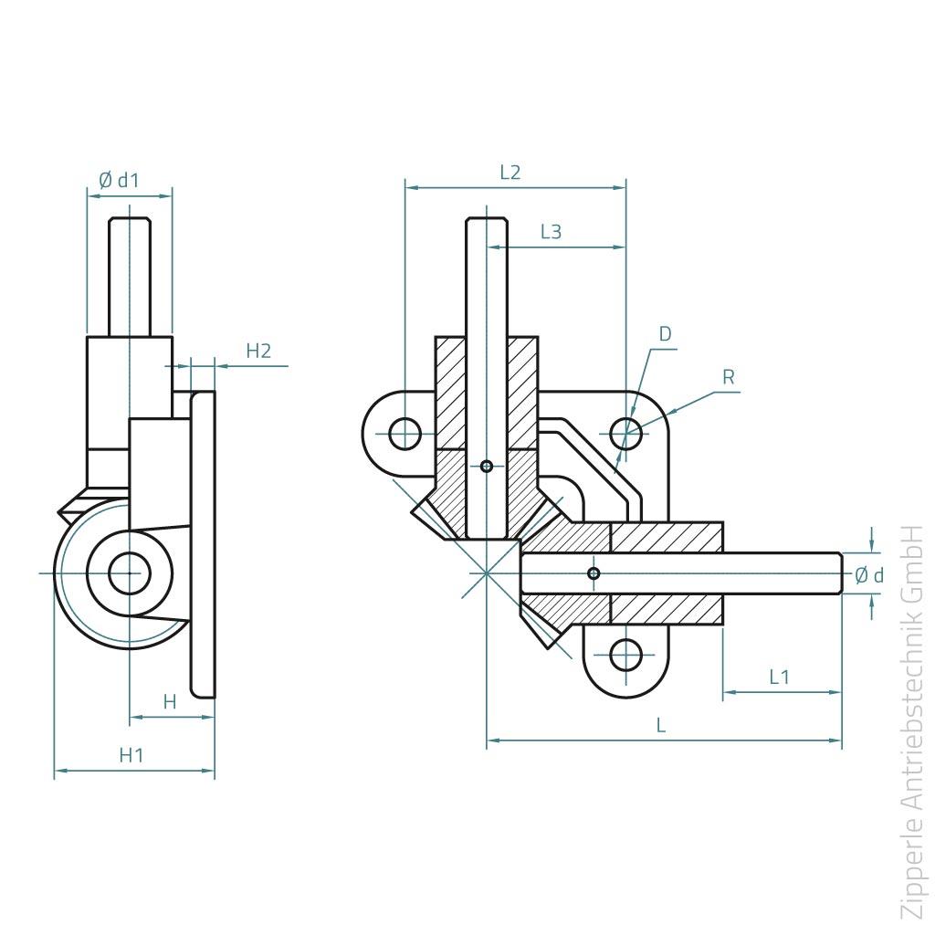 winkelgetriebe aus polyacetal pom und welle aus stahl c45 zipperle antriebstechnik gmbh. Black Bedroom Furniture Sets. Home Design Ideas